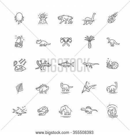 Dinosaurs Thin Line Vector Icon Set. Prehistoric Age Life