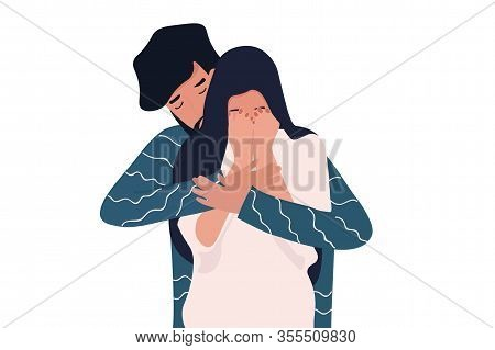 Young Man Calms His Crying Girlfriend, Embracing Her From Her Back. Helping Her To Cope With Her Sad