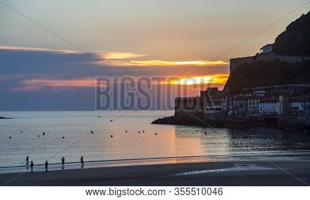 Spain, San Sebastian, Donostia, May, 12, 2017 - Colored Sunset Over The Bay Of Biscay Of The Atlanti