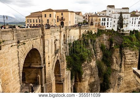 Ronda, Spain. May 1, 2018. Tourists Stroll Through The City Of Ronda In Southern Spain.