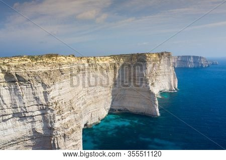 Aerial View Of Sanap Cliffs. Gozo Island, Malta
