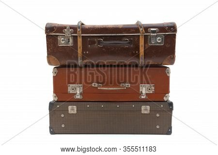 Vintage Suitcase Over A White Background. Isolated