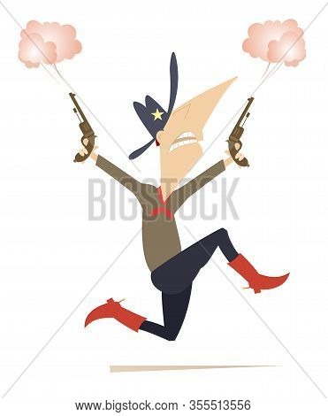 Man Or Cowboy With Two Guns Illustration. Running Cartoon Man Wears A Stetson Holds Guns In Both Han