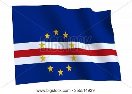 Cape Verde Flag, 3d Render. Flag Of Cape Verde Waving In The Wind, Isolated On White Background.