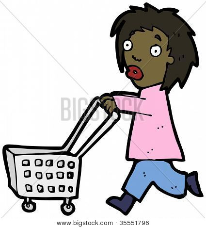 woman with shopping trolley cartoon