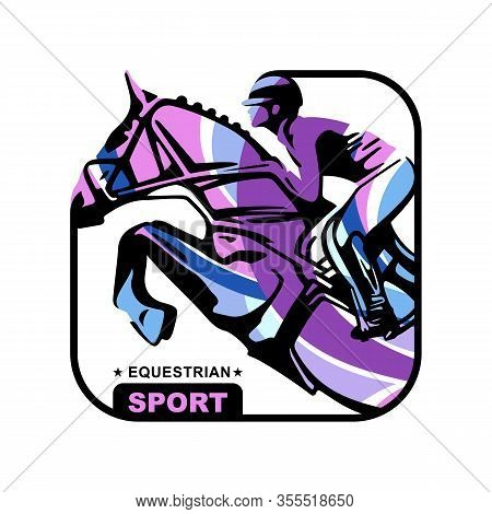 Logo. Design Icons. Silhouette Of Racing Horse With Jockey. Equestrian Sport. Poster. Sport. Jockey