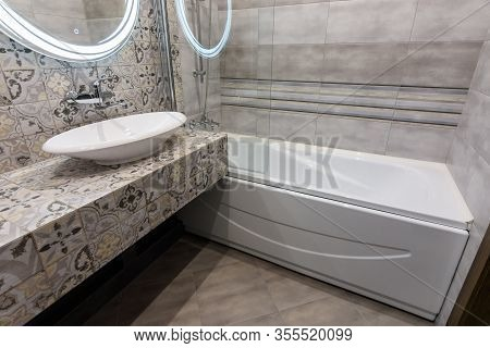 The Interior Of A Stylish Compact Bathroom