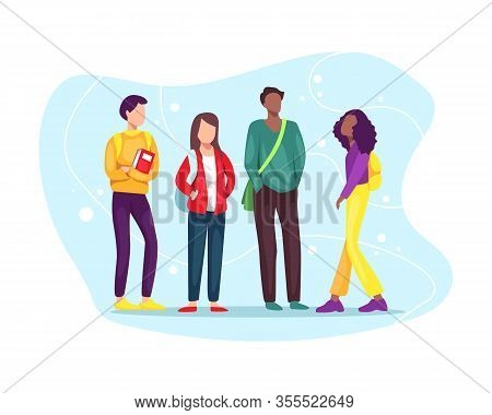 Vector Illustration Group Of Students With Book And Backpacks. Multiethnic Group Of Young Students S