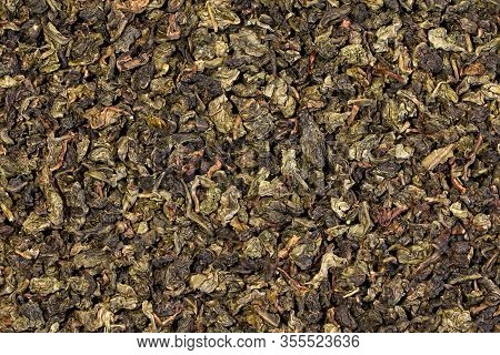 A Green Tea Texture, Background, Pattern. Pile Of Green Tea.