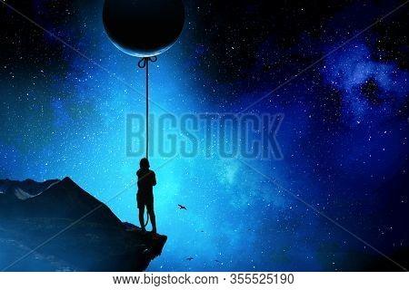 Kid catching moon . Mixed media
