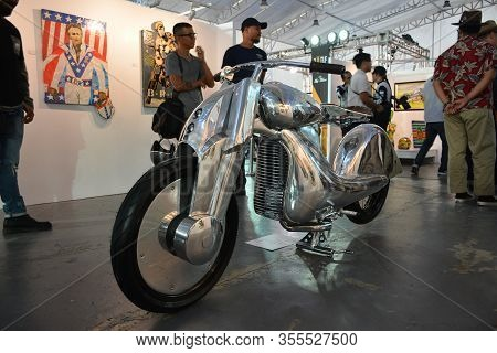 Pasig, Ph - Mar. 7: Silver Customized Motorcycle At 2nd Ride Ph On March 7, 2020 In Pasig, Philippin