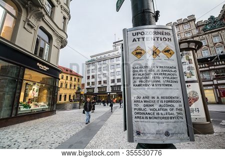 Prague, Czechia - November 3, 2019: Poster From The Czech Police Warning Foreign Tourists Against Al