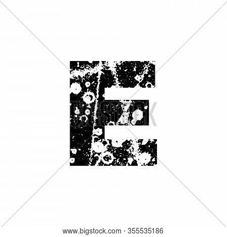 Painted Letter E. Grunge Alphabet Font. Abstract Handmade Sans Serif Typeface. Distress Textured Abc