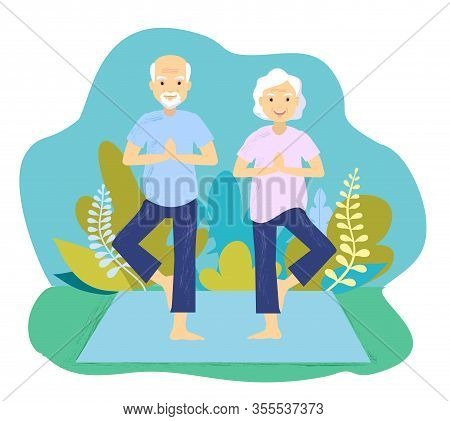 A Vector Illustration Of Senior Couple Doing Yoga Exercise. Senior Couple Doing Yoga Exercise. Grand