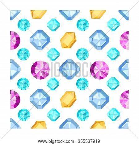 Gem Seamless Pattern. Jewels Gemstone Isolated On White Background.