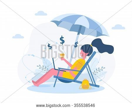 Womens Freelance. Girl With Laptop Sitting In Sun Lounger Under An Sunshades With Coffee. Concept Il