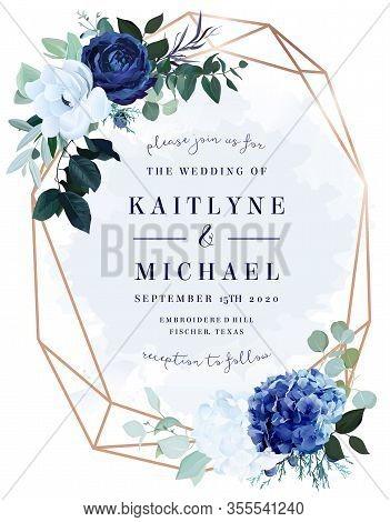 Royal Blue Rose, White Hydrangea, Anemone, Eucalyptus, Juniper Vector Design Frame.stylish Pink Gold