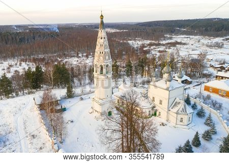 Ancient Transfiguration Cathedral Close-up On A January Day (aerial Photography). Sudislavl, Kostrom