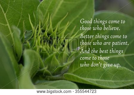 Inspirational Quote - Good Things Come To Those Who Believe. Better Things Come To Those Who Are Pat