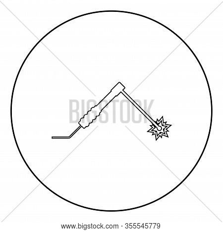 Welding Process Spark From Electrode With Torch Work And Tools Concept Icon In Circle Round Outline