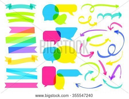 Overlapping color comic speech bubble, ribbon, arrow set. Colorful overprint banner. Hand drawn highlighter marker line. Intersecting different shapes blank balloons. Isolated vector illustration