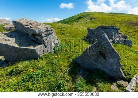 Rocks On The Alpine Hillside Meadow. Wonderful Summer Nature Scenery. Green Grass On The Hills And F