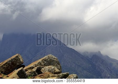 Cloudy View Of Western Ghats Range In Monsoon. The Monsoon Winds Cause The Heavy Relief Rainfall On