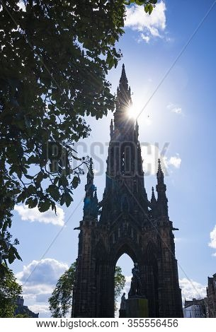 The Scott Monument, A Victorian Gothic Monument To Scottish Author Sir Walter Scott, Against A Clear