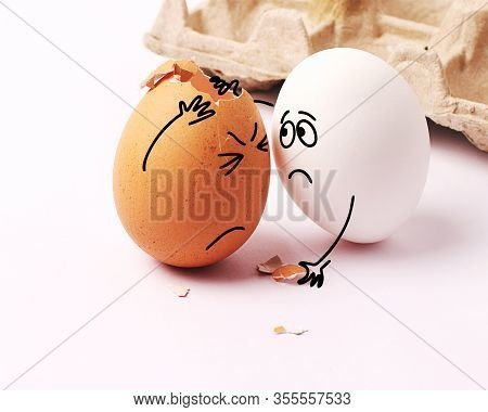 Two Funny White Eggs With Faces Drawn On Them. Easter. Eggs With Funny Faces. Broken Egg. My Head Hu