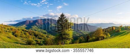 Mountainous Countryside In Springtime At Sunset. Trees On The Rolling Hills. Ridge In The Distance I