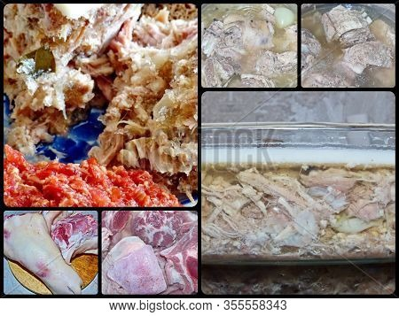 Photo Collage  Preparing Food Kholodec. Jellied Meat - Gorgeous Home Appetizer Under A Glass Of Vodk