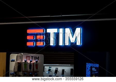 Palermo, Sicily - February 8, 2019: The Logo Of The Tim Group (telecom Italia) At The Retail Shop At