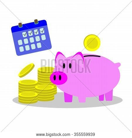 Piggy Bank With Golden Coin Input As Icon Saving Or Accumulation Of Money, Investment On White Backg