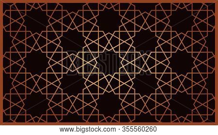 Gold Islamic Ornament Pattern For Decoration Greeting Card Or Interior. Vector Illustration.