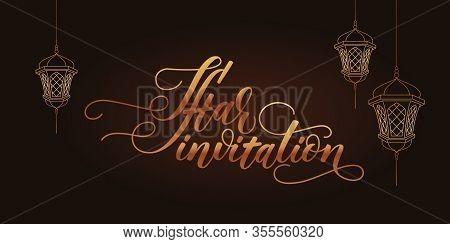 Iftar Invitation Card On Black Background. Gold Modern Brush Calligraphy. Vector Illustration