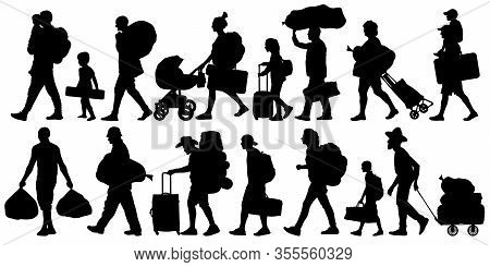 Silhouette People With Bags And Suitcases. Person With Backpack. Isolated Set Of Vector Illustration