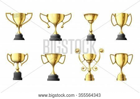 Golden Trophy Cup. Winners Trophy, First Place Glossy Gold Cups And Win Sports Prize Vector Illustra
