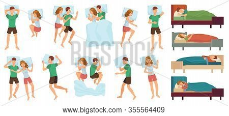 Sleeping People. Adult Couple Sleep Together, Asleep Person. Man And Woman Sleep In Different Positi