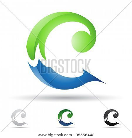 Vector illustration of abstract icons of letter C - Set 7