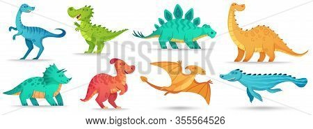 Cartoon Dino. Cute Dinosaur, Funny Ancient Brontosaurus And Green Triceratops. Comic Dinosaurs Vecto