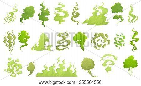Smelling Smoke. Bad Smell Cloud, Green Stink Aroma And Stinky Smoke Cartoon Vector Illustrartion Set
