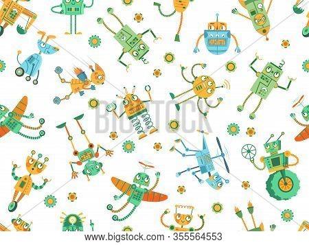 Seamless Robots Pattern. Robot Rocket, Colorful Robotic Dog And Programming Robots For Kids Vector I