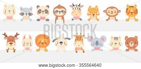 Cute Animals Look Out. Funny Animal Peeps Out, Hand Drawn Pet, Adorable Cat And Dog. Smiling Bear, R