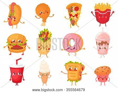 Cartoon Fast Food Mascots. Street Food Character, French Fries And Pizza Mascot Vector Illustration