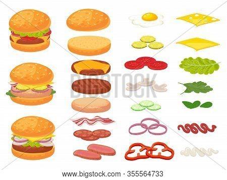 Cartoon Burger Ingredients. Hamburger, Chop Bun And Tomato. Ham, Fresh Pickles And Cheese Slices. Fa
