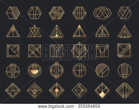 Art Deco Geometric Shapes. Golden Geometrical Art Shape, Gold Circle Symbol And Abstract Triangle. C