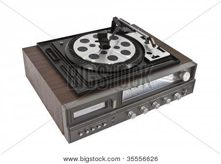 Vintage record player and eight track stereo isolated with clipping path.