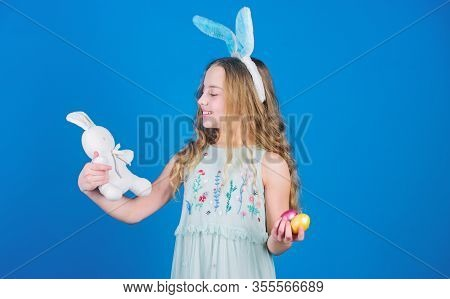 The Easter Bunny Is Coming. Easter Bunny Rabbit. Little Girl And Rabbit Toy. Small Girl In Rabbit Ea