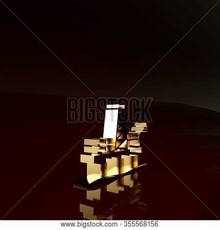 Gold Oil Platform In The Sea Icon Isolated On Brown Background. Drilling Rig At Sea. Oil Platform, G
