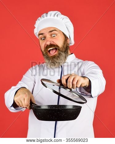 For Preparing Food. Bearded Man Cooking In Kitchen. Culinary And Cuisine. Kitchen Utensils. Healthy